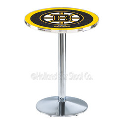 Holland Bar Stool - Holland Bar Stool L214 - Chrome Boston Bruins Pub Table - L214 - Chrome Boston Bruins Pub Table  belongs to NHL Collection by Holland Bar Stool Made for the ultimate sports fan, impress your buddies with this knockout from Holland Bar Stool. This L214 Boston Bruins table with round base provides a commercial quality piece to for your Man Cave. You can't find a higher quality logo table on the market. The plating grade steel used to build the frame ensures it will withstand the abuse of the rowdiest of friends for years to come. The structure is triple chrome plated to ensure a rich, sleek, long lasting finish. If you're finishing your bar or game room, do it right with a table from Holland Bar Stool.  Pub Table (1)