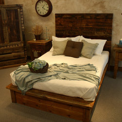Timber Designs - Saratoga Panel Bed - Features: -Material: Rustic Reclaimed Wood.-Pre-catalyzed lacquer.-Contemporary design.-Made in USA.-Distressed: Yes.-Collection: Saratoga.-Country of Manufacture: United States.Dimensions: -Overall Product Weight: 400 lbs.