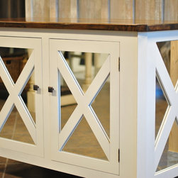 """Seaside Reflections - Meet """"Seaside Reflections"""" the newest cabinet design by Saltaire Restoration. Dimensions are approximately 52""""x18""""x36"""". Built with solid wood construction, it features a reclaimed sinker cypress top and an adjustable shelf inside. Customize yours in your choice of color. Contact us for ordering information."""
