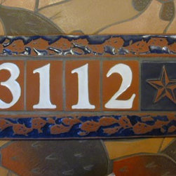 Tile Framed Address Plaque - Handmade number tiles in a prickly pear motif frame, set, grouted and ready to install.  8 in. x 20 in.