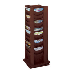 Safco - Safco 48-Pocket Solid Wood Rotating Magazine Rack in Mahogany - Safco - Magazine Racks - 4335MH - This rotating contemporary hardwood office magazine rack is a stylish means of providing reading materials for your guests. The entire unit rotates 360 degree, and each of the 48 pockets can hold multiple magazines and feature hardboard dividers, and scoop pocket fronts allow maximum visibility and ease of access.