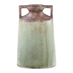 Privilege - Privilege Large Green Brown Ceramic Handle Vase - This large vase features a tapered cylindrical shape and cool earth tones. This vase works great on its own or for holding flowers.