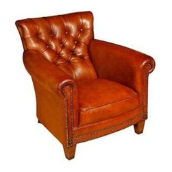 """Sarreid Ltd - Tufted Brown Hamilton Chair - The Hamilton chair has a strong angled back that is deeply tufted and accented with nailhead trim. Rolled arms and decoratively applied studs make this this occasional chair stately enough to stand alone and yet perfectly scaled to handle a companion. Try mirroring two of these rich brown leather beauties on either side of a large round iron table. (SA) 31"""" wide x 34"""" deep x 30"""" high"""