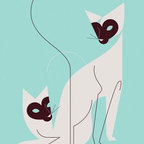"Mid-Century Modern Art Illustrations by Eleanor Grosch - Eleanor Grosch's ""The Twins"" available in sizes 10x14 and 18x24. See more of Eleanor's collection of Cat Art Prints on our website"