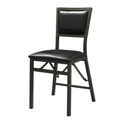 Linon - Arista Folding Chair with Padded Back - Set of 2. Sturdy, solid metal frame. Some Assembly Required. Weight Limit: 400 lbs. Powder coated. 17.91 in. W x 19.69 in. D x 33.27 in. H (31.31 lbs)Add extra seating to any table with the Arista Padded Back Metal Folding Chair. Crafted from a sturdy metal frame, the chair has a weight limit of 300 pounds. The powder coated dark brown metal finish will complement any decor. Featuring a plush padded back, the chair has a vinyl upholstered seat. When not in use, the chair easily folds for simple storage.