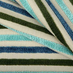Grand Prix Indoor-Outdoor Fabric in Cool - Grand Prix Indoor-Outdoor Fabric in Cool has olive, blue, and turquoise stripes created with chenille like yarns. Suitable or indoor or outdoor designs, this beachy fabric has a soft texture in a variety of colorways ranging from neutral to bright. American made from 100% Sunbrella® solution dyed with an acrylic backing. Treated with a soil/stain resistant finish. This fabric passes Wyzenbeek 15,000 double rubs, Calif Bulletin #117, and UFAC, NFPA 260 Class I. Cleaning code: W. This fabric meets or exceeds ACT standards for upholstery use. Stripe woven selvage to selvage. Repeat: approx 3.125″ vertical; Width: 54″