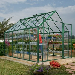 "Palram Snap & Grow 8 x 12 ft. Greenhouse - Additional Features Upscale and beautiful greenhouse is easy to assemble Panels are virtually unbreakable and 100% UV protected Adjustable roof vent allows for cross ventilation Ample headroom for taller plants Your choice of frame color Assembles in about a day with very few tools Allows for 8 ft. 6 in. headroom Limited 5 year warranty The Palram Snap & Grow 8 x 8 ft. Greenhouse allows you to enjoy eating your favorite produce fresh from your own garden. Nearly 64 sq. ft. of usable interior space and 8 ft. 6 in. of headroom. This upscale and beautiful greenhouse is easy to assemble and features crystal-clear SnapGlas panels which are 100% UV protected and virtually unbreakable. Assembly is easy with the SmartLock connector system designed to lock into place easily. This greenhouse can be assembled in about a day with the use of very few tools. The heavy duty aluminum frame is strong and durable and the generous height ensures you have plenty of growing space. The large double doors along with the adjustable roof vent provide ample ventilation to help keep your plants healthy and strong. Available in your choice of frame color in silver or green. This greenhouse has a limited 5 year manufacturer warranty. Please see """"Related Items"""" for additonal accessories for this item."