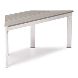 ZUO VIVA - Center Bench Gray - The Center Bench has a sturdy epoxy coated aluminum frame and a slatted faux wood seat.