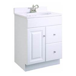 DHI-Corp - Wyndham White Semi-Gloss Vanity Cabinet with 1-Door and 2-Drawers - The Design House 545004 Wyndham White Semi-Gloss Vanity Cabinet features a durable white semi-gloss finish and satin nickel finished hardware. Perfect for an elegant country style home, this vanity has clean lines and concealed hinges. The 1-door, 2-drawer construction gives you plenty of storage for toiletries to keep your countertop free of clutter. The door and drawers open with a fluid motion, do not whine or creak and can endure moderate stress. Measuring 24-inches by 18-inches by 31.5-inches, this vanity can fit into a small bathroom. The frameless design provides ample storage and accessibility to store toiletries for the entire family. Traditional construction meshes with subtle modern details to quickly brighten up your bathroom. This product is perfect for remodeling your bathroom and matches granite countertops and colored walls. Vanity top is not included with this product. The Design House 545004 Wyndham White Semi-Gloss Vanity Cabinet has a 1-year limited warranty that protects against defects in materials and workmanship. Design House offers products in multiple home decor categories including lighting, ceiling fans, hardware and plumbing products. With years of hands-on experience, Design House understands every aspect of the home decor industry, and devotes itself to providing quality products across the home decor spectrum. Providing value to their customers, Design House uses industry leading merchandising solutions and innovative programs. Design House is committed to providing high quality products for your home improvement projects.