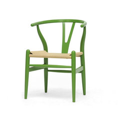 Baxton Studio - Baxton Studio Mid-Century Modern Wishbone Chair - Green Wood Y Chair - This dining chair features traditional wood and is paired with a modern form, resulting in a unique piece for your home. The frame consists of solid wood with a green finish, a curved backrest, and sturdy natural hemp seat. This item will arrive fully assembled and is also available in a light wood finish, dark wood finish, black, white, or pink. This is a quality reproduction of the Hans Wegner Wishbone Chair, which is also known as the Wegner Y Chair, Carl Hansen Wishbone Chair, CH24 Wishbone Chair, and the Wegner CH24.  Dimensions: 20.75 inches in WideX21.25 inches in Deep X26.125 inches in Height, seat height :17.5 inches