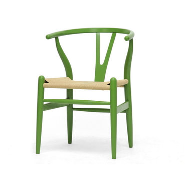 Baxton Studio - Midcentury Modern Wishbone Chair, Green Wood - This dining chair features traditional wood and is paired with a modern form, resulting in a unique piece for your home. The frame consists of solid wood with a green finish, a curved backrest, and sturdy natural hemp seat. This item will arrive fully assembled and is also available in a light wood finish, dark wood finish, black, white, or pink. This is a quality reproduction of the Hans Wegner Wishbone Chair, which is also known as the Wegner Y Chair, Carl Hansen Wishbone Chair, CH24 Wishbone Chair, and the Wegner CH24.  Dimensions: 20.75 inches in WideX21.25 inches in Deep X26.125 inches in Height, seat height :17.5 inches