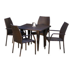 Great Deal Furniture - Michael 5-pieces Outdoor Wicker Dining Set - The Michael 5 Piece Outdoor Wicker Dining Set is designed with rich, natural brown PE wicker. Neutral in color, this set will match any existing outdoor furniture and is great in your yard, patio, or poolside deck. These wicker chairs are strong, sturdy, and comfortable and the set arrives fully assembled and ready to use.
