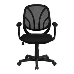 Flash Furniture - Black Mid-Back Mesh Computer Task Chair with Arms - Why Go When You Can Stay?The Y-GO task chair and computer chair from Flash Furniture is a Mid-Back chair that packs style and comfort into unmatched usability. This office chair features a black mesh back with flex bars which conform to the natural curve of the user's back. The flex back with the padded foam seat makes this a valuable addition to any home office, professional office or school business department.