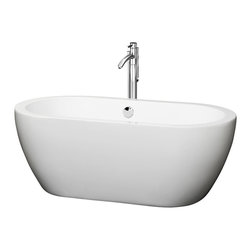 "Wyndham Collection - Wyndham Collection 60"" Soho White Soaking Bathtub w/ Chrome Drain - The Soho Soaking Tub is understatement and elegance in purest form. Organic shapes, simple lines and attractive symmetry showcase the modern design ethic, yet somehow impart a feeling of warmth and luxury. Built to last and always warm to the touch, the Verona Bathtubs are a perfect place to melt away tension and stress, leaving you refreshed, recharged and renewed."