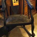 Something Old & Something New - Before Picture of late 1800's Solid Hand Carved Claw Foot Mahogany Rocker