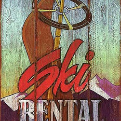 Red Horse Signs - Vintage Signs Ski Rental Nostalgic Retro Skiing Sign - With  all  the  weathered  look  of  a  true  vintage  this  rustic  ski  sign  allows  you  to  personalize  the  rental  location  and  make  it  a  unique  addition  to  winter  lodge  or  mountain  home.  Printed  directly  to  distressed  wood  for  an  aged  appearance  this  sign  measures  14  x  22.  Sure  to  make  your  rustic  decor  a  hit!