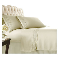 Southshore Fine Linens, Inc. - Aspen Lace - Sheet Sets - 4 PC, Off White, California King - Made with high strength microfiber yarns these shrinkage-free sheets are decorated with a beautiful lace. Double brushed for extra softness, these sheets feature a 110 GSM microfiber fabric to ensure a cozy feeling.