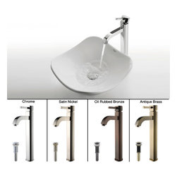 Kraus - Kraus White Tulip Ceramic Sink and Ramus Faucet Satin Nickel - *Add a touch of elegance to your bathroom with a ceramic sink combo from Kraus