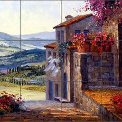 "Artwork On Tile - Senkarik Tuscan Landscape Ceramic Tile Mural Backsplash 24"" x 18"" - MSA012 - * 24"" w x 18"" h x .25"" Ceramic Tile Mural on Architectural Grade, 6"" Tile w/Satin Finish"