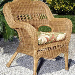Casual Decor by Kaven - Sahara Arm Chair - Walnut - Traditional styling. UV protected resin wicker over a powder coated steel frame. Chair is available