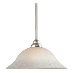 Z-Lite - Z-Lite Riviera Pendant Light X-61MW-NB-PM0112 - This brushed nickel, one light pendant along with its bright, white mottle shade and clean lines will add an element of class to any room.