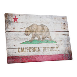 "PingoWorld - Vintage California Flag Gallery Wrapped Canvas Print, 20""x16""x1.25"" - Vintage California Flag. Gallery wrap on archival quality canvas using Epson Ultra-Chrome inks and pine wood frames."