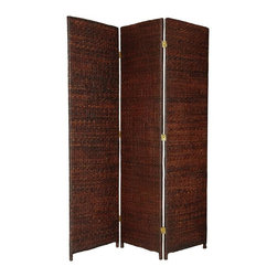 Oriental Unlimited - Tropical 71 in. Woven Rush Grass Room Divider - Color: 3 Panels / Dark BrownSolid, sturdy and durable kiln dried Spruce wood frames. Substantial, abundant and beautifully textured woven rush grass. A unique, rustic design and equally beautiful from front or back. Each panel: 17.75 in. W x 71 in. H
