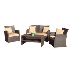 Great Deal Furniture - Roswell Outdoor 4-Piece Wicker Sofa Seating Set - There is nothing like enjoying the outdoors like having the comforts of the Roswell 4pieces sofa seating set. Constructed from brown wicker, this set includes two (2) single armchairs, one (1) loveseat and one (1) coffee table. This set includes matching plush cushions that provide a comfortable lounging experience for your guests.