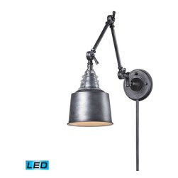 Elk Lighting - Elk Lighting 66825-1-LED Insulator Glass Traditional Swingarm Wall Sconce - Elk Lighting 66825-1-LED Insulator Glass Traditional Swingarm Wall Sconce in Weathered Zinc