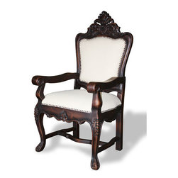 Koenig Collection - Spanish Carved Arm Chair, Dark Stain And Upholstered In Linen - Spanish Carved Arm Chair, Dark Stain and Upholstered in Linen
