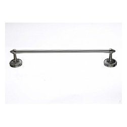 "Top Knobs - Tuscany Bath 24"" Single Towel Rod - Brushed Satin Nickel - Length - 26 1/2"", Projection - 3 1/4"", Center to Center - 24"", Bar Stock Diameter - 5/8"", Base Diameter - 2 1/2"" w (x) 2 1/2"" h"