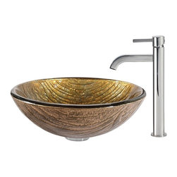 Kraus - Kraus Terra Glass Vessel Sink and Ramus Faucet Chrome - *The antique-gold hue of the Terra sink makes it well-suited for a range of settings and color palettes, while the layered texture highlights the handcrafted artistry of the glass. Pair it with the minimalist form of the Ramus faucet in chrome for a look of polished simplicity