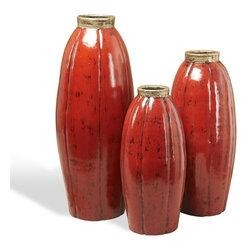 Interlude - Paria Vases - Crimson - Set of three vases in ceramic with silver accents on crimson reactive glaze.