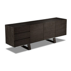 Sheres - Madrid Buffet, Wenge - This contemporary buffet is long and sleek for a European sleek look. Soft close drawers lined with felt and soft close doors add luxury to this attractive design statement. Beautiful in straight grain walnut and stainless steel accents. Also great in Wenge finish.