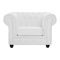 """LexMod - Chesterfield Armchair in White - Chesterfield Armchair in White - There is something very recognizable about the Chesterfield Armchair. While fashioned with a tufted back, and large rounded arms, the most distinctive aspect is arguably the deep buttons. Their careful positioning throughout helps portray both an aristocratic and settled feel at the same time. First named in 1900 after the Earl of Chesterfield who commissioned it, recognize the ability to join individual elements as you completely inspire your room. Set Includes: One - Chesterfield Armchair in Leather & Leather Match For areas seeking cultured elegance, Tightly tailored rolled arms, Deep tufting for maximal effect, Genuine leather seat and back, Steel base with solid wood legs Overall Product Dimensions: 37.5""""L x 47""""W x 31.5""""H Seat Height: 16.5""""H - Mid Century Modern Furniture."""
