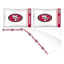 Sports Coverage - NFL San Francisco 49ers Football Queen Bed Sheet Set - Features: