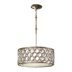 Murray Feiss - Murray Feiss F2568/3BUS Lucia Oval Pendant Chandelier in Burnished Silver finish - Shown in picture: Lucia Oval Pendant Chandelier in Burnished Silver finish with BeigeFabric