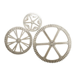 Kathy Kuo Home - Third Gear Industrial Loft Style Silver Metal Wall Decor Sculptures - Gear up for the compliments when you hang these stunning industrial silver metal gears on your wall. Modern and engaging, these three pieces are perfect for your loft, studio, eclectic office or workshop.