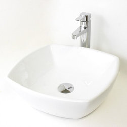 """None - 17.5"""" European Style Round Circular Shape Porcelain Ceramic Bathroom Vessel Sink - Compatible with most wall-mount or countertop-mount vessel filler faucets. Aside from being functional,this sink is also an elegant looking and great a conversational piece."""