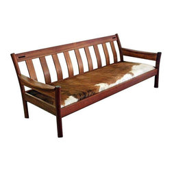 Danish Modern Teak Sofa with Cowhide Upholstery - Dimensions 75.0ʺW × 26.0ʺD × 28.5ʺH