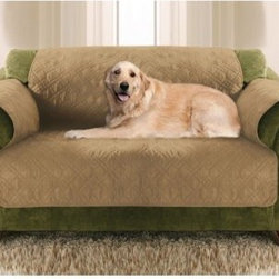 Paws & Claws Love Seat Size Quilted Micro Suede Furniture Protector - The durable and easy-to-clean Paws & Claws Love Seat Size Quilted Micro Suede Furniture Protector is the easiest way to protect your furniture from the mess of your pet. Ideal for most love seats, it opens as one piece with flaps that tuck into the seat cushions and over arm rests. To clean, simply remove and toss in the washing machine. Its durable micro suede construction in versatile colors makes it tough enough for everyday use.About Arlee Home FashionsArlee Home Fashions, Inc. manufactures and markets household textiles like decorative pillows, chair pads, floor cushions, curtains, table linens, and pet beds. The company was incorporated in 1976 and is based in New York, New York.