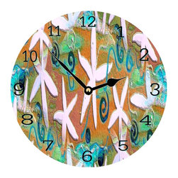 USA - Starfish Deco wall clock - Enjoy passing time with my dye sublimated art work on a beautiful 11.25'' hard board clock with a wonderful glossy finish. Clocks are a durable 1/4 '' thick and require a AA battery not included. Made in the USA