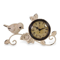 "IMAX - Bird Tabletop Clock - Antique white metal bird and rose clock Item Dimensions: (4.5""h x 8.75""w x 4"")"