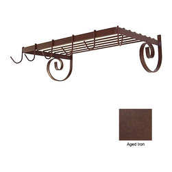 """Wall Mount Shelf Rack with 6 Hooks - Aged Iron - Wall Mount Shelf Rack, Finish- Aged Iron, Metal,Dimensions, 24"""" W x 13"""" D x 8"""" H, Collection - Saltillo, Products Weight - 10 lbs"""