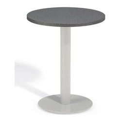 "Oxford Garden - Travira 24"" Bistro Table in Alstone Graphite - The Travira 24"" Bistro is a stylish table that features a classic, yet modern round top and base. The table top is available in Teak, Tekwood (Natural or Vintage) or Alstone, complementing the bold gray of the powder-coated aluminum. The Travira bistro is perfect for a balcony, cafe or other outdoor dining environment.; Alstone and powder coated steel outdoor bistro table; Table top made from Alstone, featuring a strong aluminum core with granite polymer finish, creating the look of granite with the weight of aluminum.; Frame crafted from lightweight, rust-proof powder coated steel in gray; Alstone and aluminum provide classic styling with a contemporary look; Assembly Required; Country of Origin: China; 1 year Warranty; Weight: 39 lbs; Dimensions: 29""H x 24""W x 24""D"