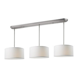 Nine Light Brushed Nickel White Linen Shade Island Light - Elegant and contemporary best describe this beautiful nine light fixture. Finished in brushed nickel and paired with white shades, this nine light fixture would be equally at home in the game room, or anywhere else in the house needing a touch of timeless charm. Adjustable rods are included to ensure the perfect hanging height.