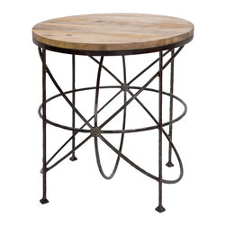 Kathy Kuo Home - Alchemy Rustic Industrial Loft Wood Iron Orbit Round Side Table - Fitting such an abundance of style in a small amount of space seems to defy the laws of spatial relations. Reclaimed wood adds an earthy element to the celestial iron sculpture. Whether it's a side table, nightstand or accent table, this Industrial metal masterpiece will draw the attention of all your guests.