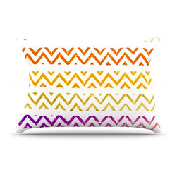 "Kess InHouse - Sreetama Ray ""Chevron Add"" Warm Chevrons Pillow Case, Standard (30"" x 20"") - This pillowcase, is just as bunny soft as the Kess InHouse duvet. It's made of microfiber velvety fleece. This machine washable fleece pillow case is the perfect accent to any duvet. Be your Bed's Curator."