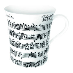 Konitz - Set of 4 Mugs Vivaldi Libretto White - Start every day on a high note with this Vivaldi Libretto Mug set. Contrasting black-and-white sheet music from a Vivaldi score graces each beautiful mug, making this set a must-have for the classical music lover on your list.