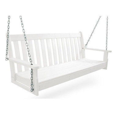 Polywood - Eco-friendly Swing in White - You don't have to live in wine country to enjoy the rich character of the Vineyard Collection. It will fill your outdoor living area with the same style and comfort it would if it were overlooking rows and rows of grapes at harvest time. You're sure to find one to suit your taste. Built to last a lifetime through all types of weather. Adding to its appeal is the warm, rich look of real wood without the regular maintenance that wood requires. Whether you're watching the sunset or spending the afternoon with a good book, the gentle motion of this swing will add great comfort to your leisure time.